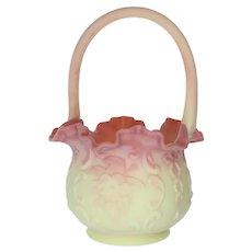 Fenton Art Glass Wild Rose with Bow Knot Burmese Basket