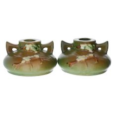 Roseville Art Pottery Green Snowberry Candle Holders