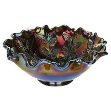 "Fenton Art Glass Amethyst Carnival Holly 8"" Bowl"