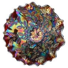 """Fenton Amethyst Carnival Glass 9"""" Holly Bowl"""