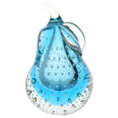 Murano Style Controlled Bubble Blue Sommerso Glass Pear Shape Paperweight