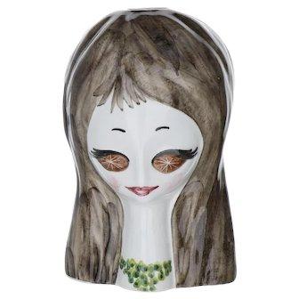 Mid Century Star Eyed Girl Italian Pottery Head Vase by Quadrifoglio