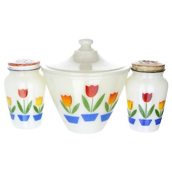 Fire King Tulip Range Set Grease Jar and Shakers