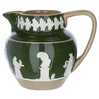 Olive Gloss Jasperware Cream Pitcher by Copeland Late Spode