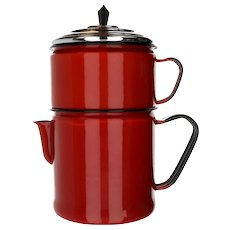 Vintage Cherry Red Enamelware 3 Piece Drip Coffee Pot