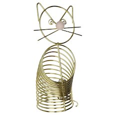 Mid Century Novelty Coiled Wire Kitty Cat Letter & Pen Holder Desk Accessory