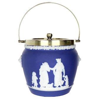 Wedgwood Blue Jasperware Classical Scene Biscuit Barrel