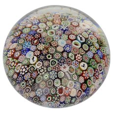 Cristalleries de Baccarat 1849 Close Pack Millefiori Magnum Paperweight with Gridel & Date Canes
