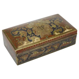 Early 20th Century Benares Ware Dome Lid Brass Cigarette Box made in India