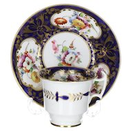 Georgian Period Coalport Botanical English Porcelain Coffee Cup with matching Saucer