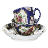 18th Century Worcester Fancy Birds and Bugs Trio English Porcelain Cup, Bowl and Saucer