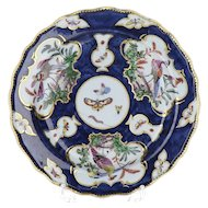 18th Century Bow English Porcelain Fancy Birds and Bugs Plate with Staple Repairs