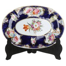 First Period Worcester Soft Paste English Porcelain Dish with Hand Painted Botanical and Orange Tulip