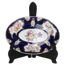 First Period Worcester English Soft Paste Porcelain Dish with Hand Painted Botanicals and Purple Tulip B