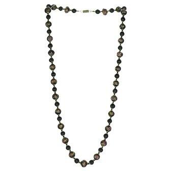 "Vintage 26"" Black Venetian Murano Glass Wedding Cake Beaded Necklace"