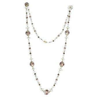 "Vintage 32"" White Venetian Murano Glass Wedding Cake Beaded Necklace"