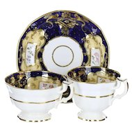 19th Century English Soft Paste Porcelain Georgian Style Blue & Peach Ground True Trio Cups & Saucer A