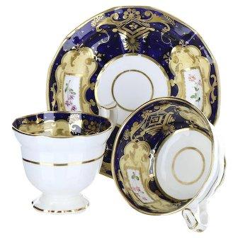 19th Century English Soft Paste Porcelain Georgian Style Blue & Peach Ground True Trio Cups & Saucer B