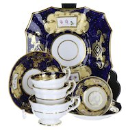 19th Century English Soft Paste Porcelain Georgian Style Blue & Peach Ground 7 Piece Tea for Two Trio Cups, Saucers and Plate A