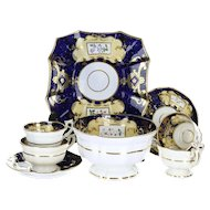 19th Century English Soft Paste Porcelain Georgian Style Blue & Peach Ground 8 Piece Tea for Two Trio with Plate and Waste Bowl