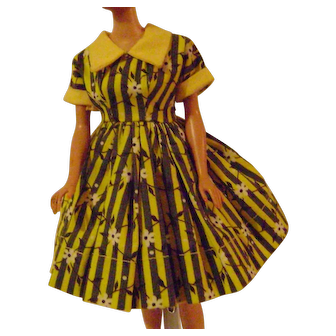 Yellow and Grey Doll Dress