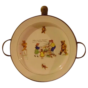Vintage Child's Warming Dish with Sporting Bears
