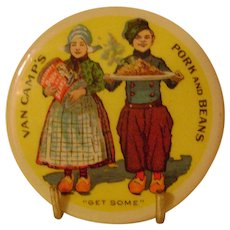 Vintage Celluloid Van Camp's  Advertising Pocket Mirror