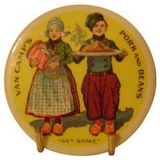 Vintage Celluloid Van Camp's  Advertising Pocket Mirror