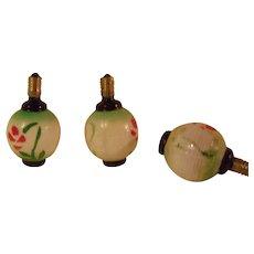 3 Painted White Milk Glass Japanese Lantern TYpe Christmas Tree Lights