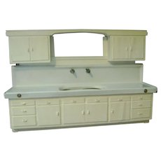 Vintage Kitchen Porcelain Sink and Cabinet, Sample Size