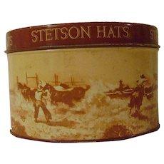 Vintage Metal Stetson Sample Hat Box