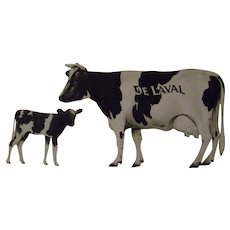 Vintage De Laval Holstein-Friesian Metal Cow and Calf