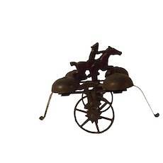 Vintage Cast Iron and Metal 'Paul Revere'  Bell Toy