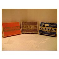 Three Vintage Gold Tip Gum Boxes