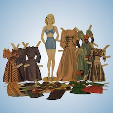 Vintage Barbara Paper Doll with Wardrobe