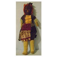 Vintage Folk Art Black Doll