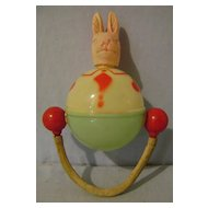 Vintage Celluloid Rabbit Rattle