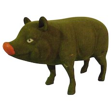 Vintage St. Patrick Day Green Candy Container Pig