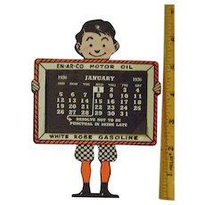 Vintage 1936 En Ar Co Oil Die Cut Calendar