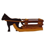 Vintage Small German Horse and Sleigh