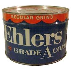 Vintage Unopened Ehlers 1 Pound Coffee Tin