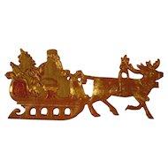 Vintage Dresden Santa and Sleigh Ornament