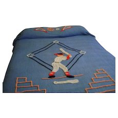 2 Vintage Baseball Twin Bedspreads and Rug