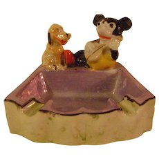 Vintage Mickey Mouse and Pluto 1930s Ashtray