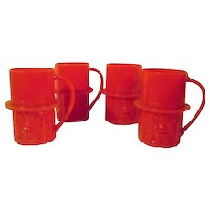 4 Vintage Planters Mr. Peanut Red Plastic Cups