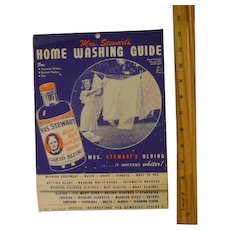 Vintage Mrs. Stewart's Liquid Bluing Home Washing Guide