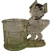 Vintage Felix the Cat Glass Candy Container