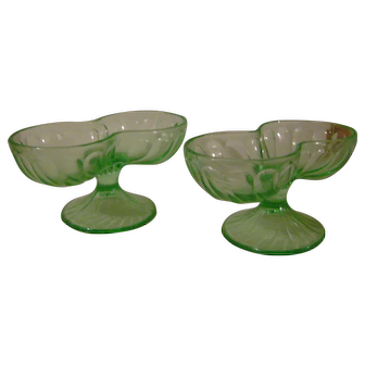 2 Vintage Depression Green Double Scoop Ice Cream Dishes