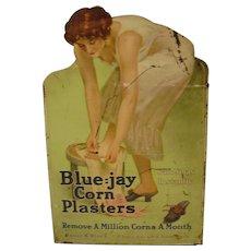 Vintage  Blue-jay Corn Plaster Tin Store Display