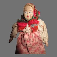 """Vintage 4.5"""" Antique Russian Peasant Doll with Terra Cotta Face"""